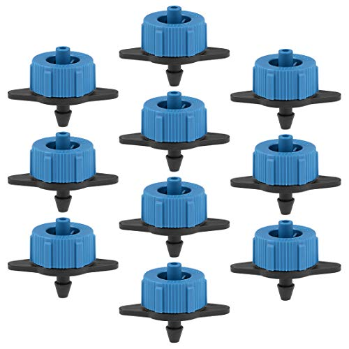 uxcell Pressure Compensating Dripper 2 GPH 8LH Emitter for Garden Lawn Drip Irrigation with Barbed Hose Connector Plastic Black Blue 25pcs