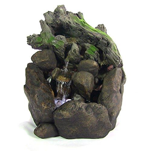 Sunnydaze Tree Trunk on Rocks Fountain with LED Light 24 Inch Tall