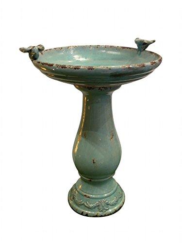 Alpine Corporation Antique Ceramic Birdbath with Birds 24 Turquoise