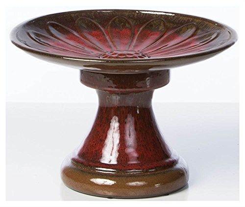 Alfresco Home Daisy Ceramic Birdbath - Red