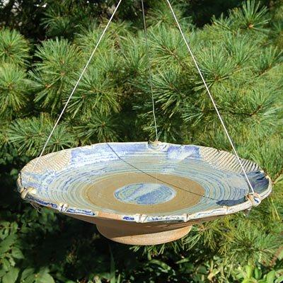 Anthony Stoneware Ceramic Bird Bath Medium French Blue