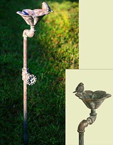 Decorative Rustic Weathered Rustgray Industrial Faucet Songbird Flower Birdbath