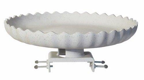 Farm Innovators Model Hbc-120 All Seasons Decorative Gray Stone Scalloped Heated Birdbath With Deck Mount 120