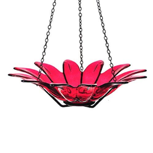 Wild Bird Feeder Colored Glass Birdbath 12 In G173f Red Hanging Bird Bowl Decorative Birdseed Dish