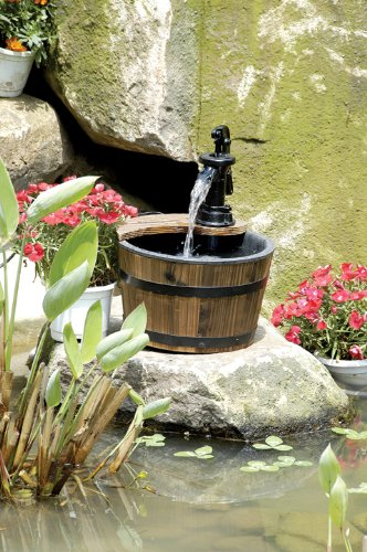 Wood Barrel with Pump Patio Water Fountain - Small Garden Water Fountain Product SKU PL50012