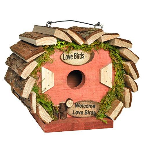 Gardirect Wooden Bird House Bird Nesting Box Natural Wooden Feeding Station