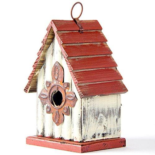 Glitzhome 894H Hanging Garden Distressed Wooden Garden Bird House