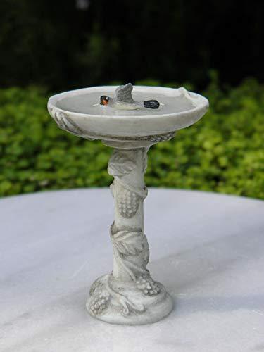 Miniature Dollhouse Fairy Garden Furniture ~ Gray Resin Bird Bath w Bird ~ New
