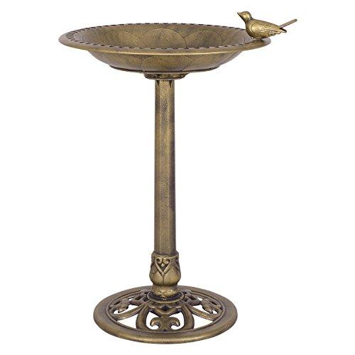 PETSJOY 28 H Bird Bath Bird Feeder Pedestal Antique Resin Birdbath for Outdoor Yard or Garden Freestanding Decoration with Sitting Place Copper Antique Copper
