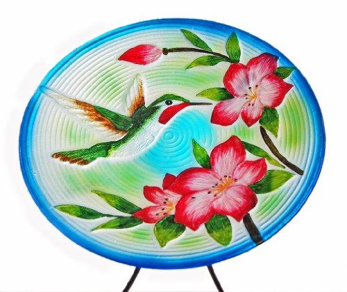 Continental Art Center Cac40187 15-inch Hummingbird Glass Bird Bath Bowl With 19-inch Metal Stand