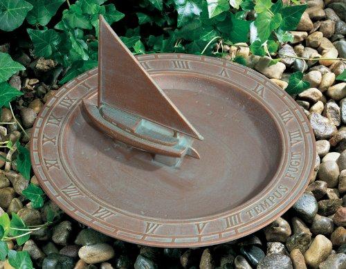Whitehall Products Sailboat Sundial Birdbath Copper Verdi