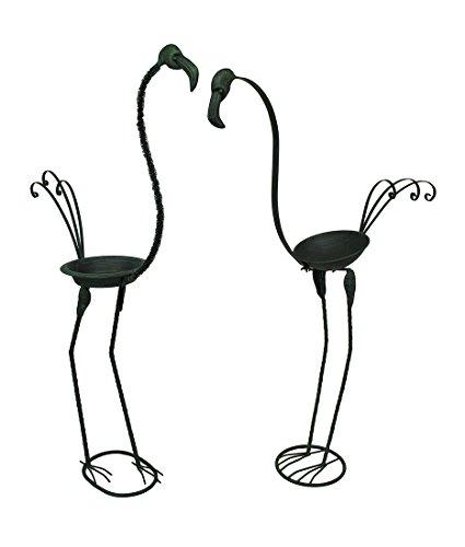 Flamingo Duet Verdigris Finish Metal Bird Bathfeeder Statue Set Of 2