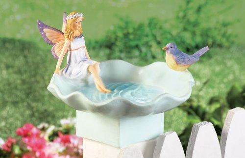 Fairy And Bird Bath Fence Topper Garden Decoration