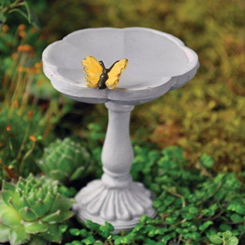 Fiddlehead Fairy Village - Mini Bird Bath With Butterfly - Includes Bonus Novelty Fairies Bill And I Believe In
