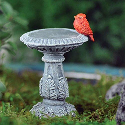 Fiddlehead Fairy Village - Mini Bird Bath With Cardinal - Includes Bonus Novelty Fairies Bill And I Believe In