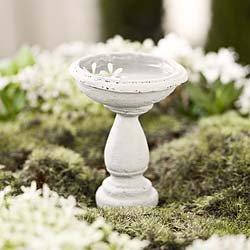 Miniature Fairy Garden Birdbath Cement