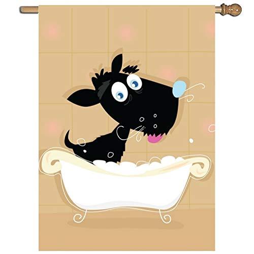 AshasdS Flag Funny Dog Bath Double Side Polyester Garden Flag Yard for Celebrate Holiday Decor 275x393 Inch