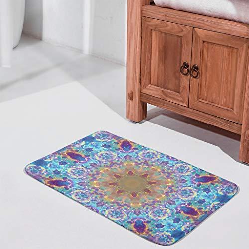 UAright Bright Blue Nebula Mandala Printed Door Mat Rubber Front DoorBathroom Decorative Carpets Floor Rug for Garden Bath White 24x36 inch