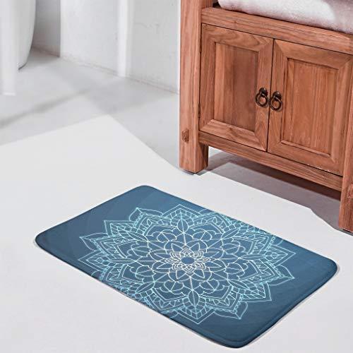 UAright Mandala Blue Pattern Welcome Door Mats Washable Rubber Indoor Decorative Carpets Floor Mat for Garden Bath White 24x36 inch