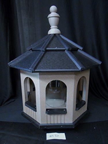 Vinyl Gazebo Bird Feeder Amish Homemade Handmade Handcrafted Clay and Black med
