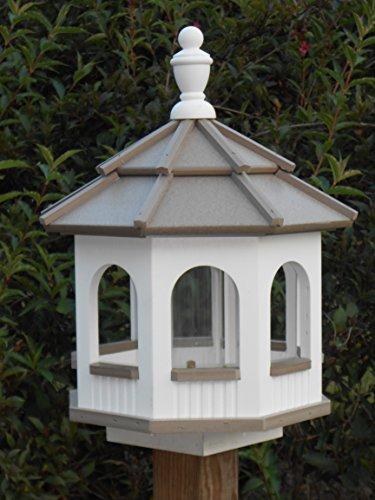 Vinyl Gazebo Bird Feeder Amish Homemade Handmade Handcrafted White Clay med