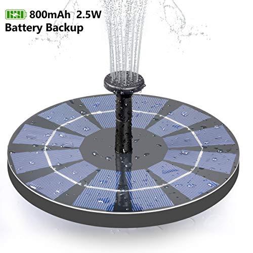 ADDTOP Solar Bird Bath Fountain with Battery Backup 25W Free Standing Water Pump for Birdbath Garden Pond Pool Outdoor