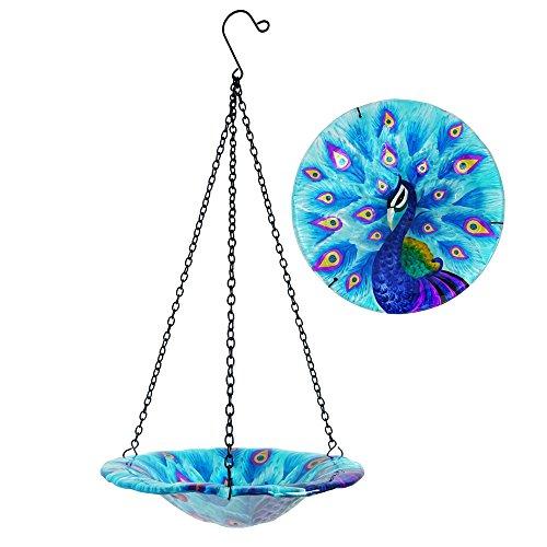 Comfy Hour 8 Glass Tray Metal Art Peacock Plate Hanging Bowl Bird Feeder Birdbath Total Height 17 Including Chain