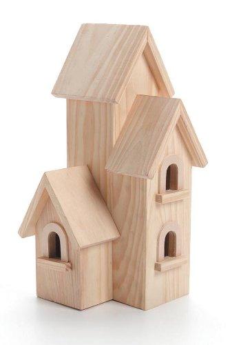 Darice 9166-54 Natural Wood Birdhouse Manhatton 12-Inch