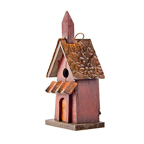 Glitzhome 1181&quoth Hanging Distressed Wooden Garden Bird House Red