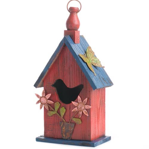 Factory Direct Craft&reg Tweet Sweet Rustic Red Wooden Decorative Birdhouse With Carved Bird On Front