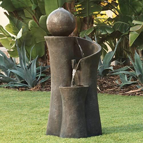 John Timberland Modern Sphere Zen Outdoor Floor Water Fountain 39 12 with LED Light for Exterior Garden Yard Lawn