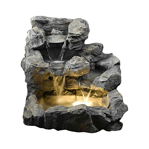 Living Better Now Floor Water Fountain Electric Pump LED Rock Garden Yard Pond Patio Waterfall Outdoor New