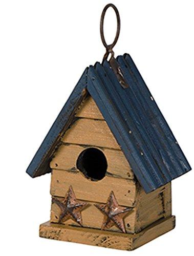 Miniature 5 X 5 Metal And Wooden Indoor Outdoor Birdhouse blue Roof