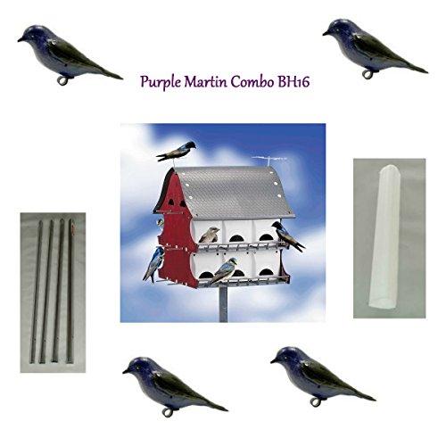 S&k Bh16 16 Family Purple Martin Barn Bird House Combo Kit