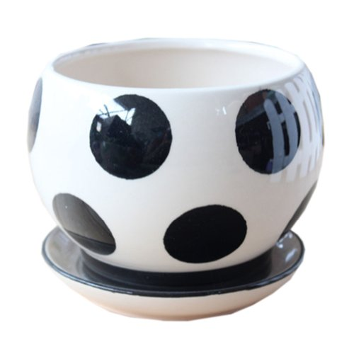 Creative Decor Lovely Garden Soccer Earthenware Planter Flower Pot 43 BLACK