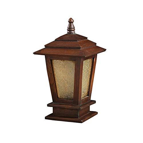 Hurffue Glass Lantern Creative Brown Outdoor Landscape Column Lamp Vintage Wooden Garden Lawn Pillar Lamp Solid Wood RetroVilla Door Outdoor Post Lamp for Deck Ground Lighting Size  Height37cm