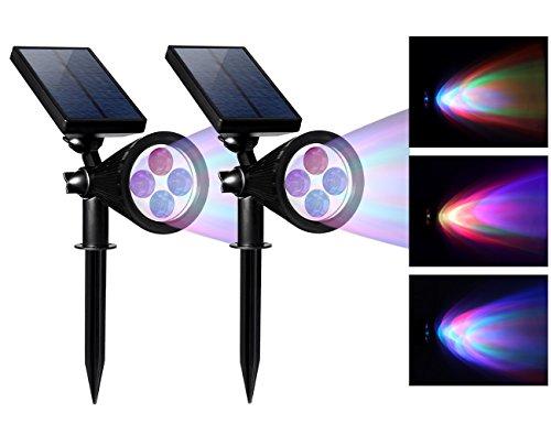 Mokoqi 2-in-1 Solar Security Wallin-ground 4 Led Lights Adjustable Auto-sensing Outdoor Spotlight For Garden