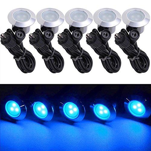 5 Pack 12v LED Recessed Deck Lighting Fixture Color Opt Blue