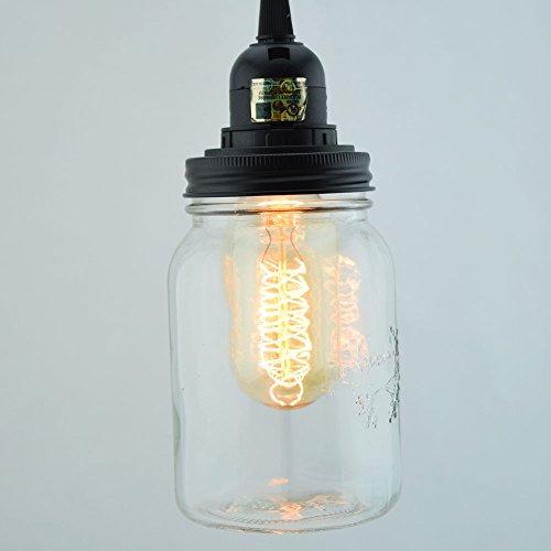 Fantado Mason Jar Pendant Light Kit Regular Mouth Black Cord 15FT by PaperLanternStore