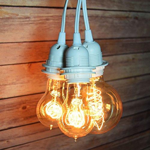 Fantado Triple Socket White Pendant Light Lamp Cord for Lanterns 19 FT UL Listed by PaperLanternStore