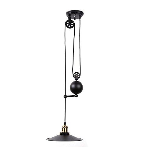 Fuloon Edison Industrial Pulley Pendant Lights Adjustable Wire Lamps Retractable Lighting Black Black-1