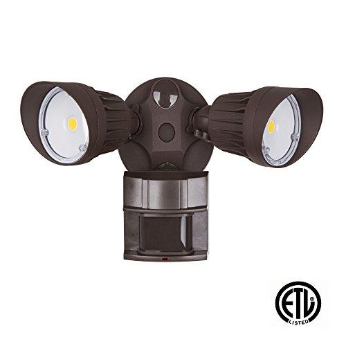 LED Security Light 20W Flood 100 Watt Replacement Motion Sensor  Photocell 1500 lm 5000K Daylight Adjustable Head Bronze IP65 ETL Listed