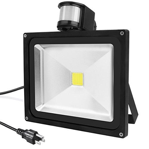 Warmoon LED Motion Sensor Flood Light 30W Daylight White 6500K 2700lm-3600lm Waterproof Security Lights with PIR