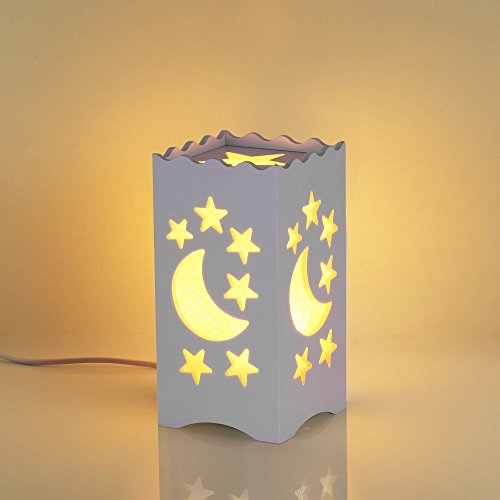Airgoo® Led Warm White Art Light White Table Light With Moon And Star Shaped Carving, Desk Lamp Night Light For