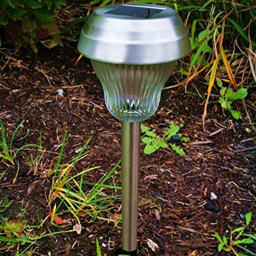6pcs-Pack WhiteBlue Dual LED Galss Lens Stainless Steel Solar Lights Outdoor Sogrand Solar Pathway Lights Solar Landscape Lighting Solar Path Lights Solar Garden Lights