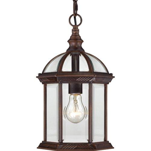 Nuvo Lighting 604978 Boxwood One Light Hanging Lantern 100 Watt A19 Max Clear Beveled Glass Rustic Bronze Outdoor