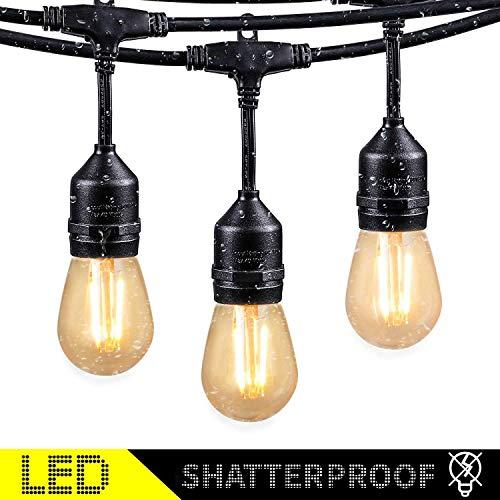48FT Outdoor String Lights with 15 Shatterproof LED S14 Edison Light Bulbs-ETL Listed Commercial Patio Lights for Deck Backyard Porch Balcony Bistro Cafe Pergola Gazebo Market Garden Decor Warm White