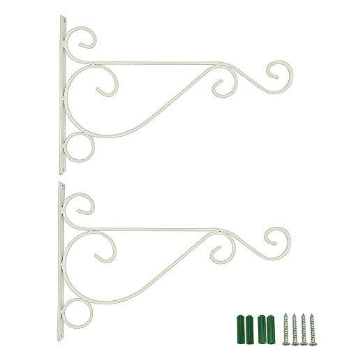 Etechmart Pack Of 2 Wall Hanger For Garden Basket Lantern Light Plant small White
