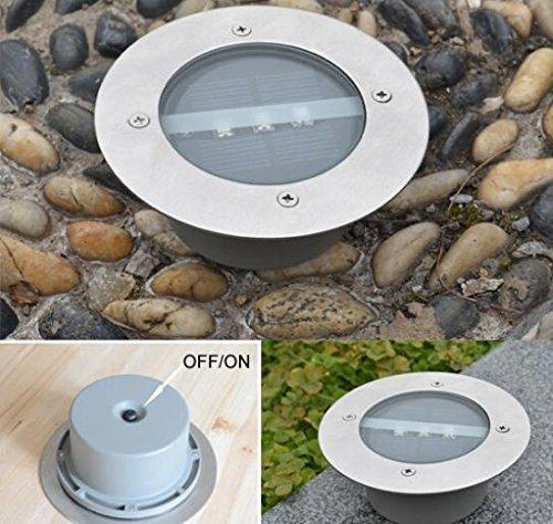 4pcslot Outdoor Lighting Solar Powered Panel LED Floor Lamps Deck Light 3 LED Underground Light Garden Pathway Spot Lights