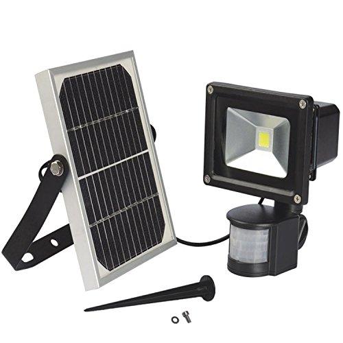 W-LITE 10W Led Solar Powered Motion Sensor Flood LightCool White 6000kBlackWaterproof SecurityReflector Outdoor Lighting Floodlight Garden lamp